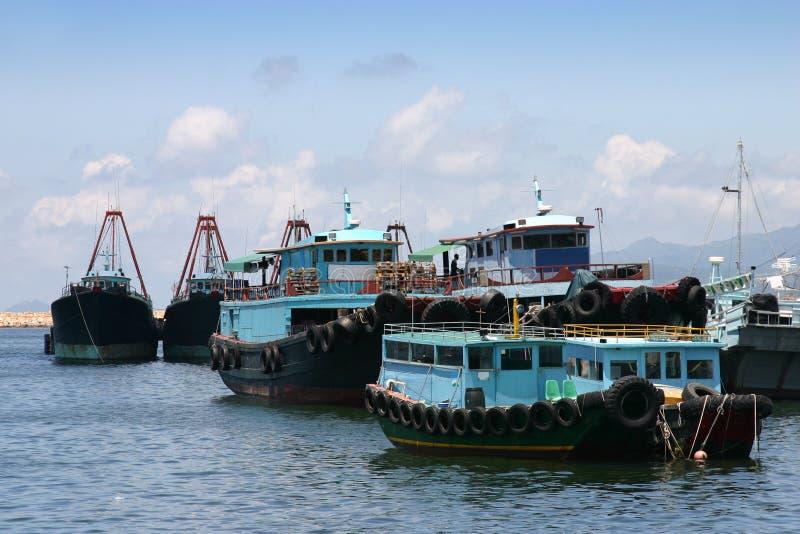bateaux pêchant Hong Kong image stock