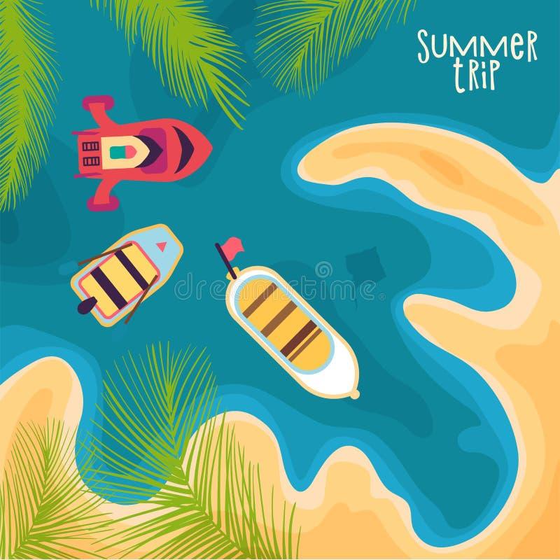 Bateaux par la mer, dans la lagune illustration de vecteur
