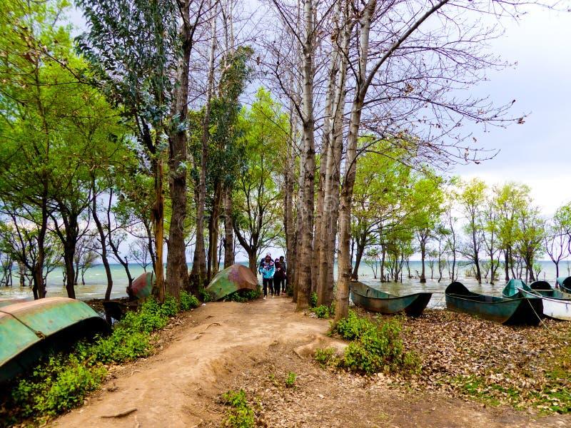 Bateaux près de lac Erhai images stock