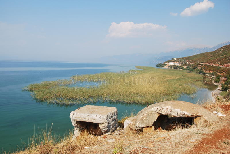 Bateaux sur le lac Ohrid images libres de droits