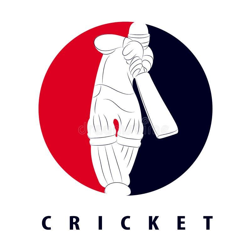 Batedor de críquete achatado ilustração do vetor