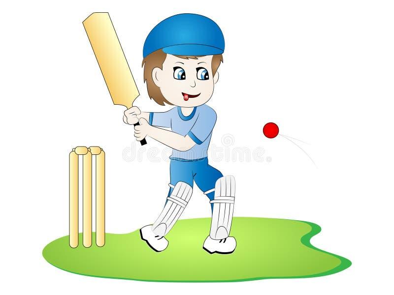 Batedor do jogador de cricket do vetor dos desenhos animados ilustração royalty free