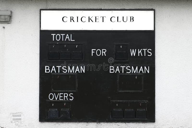 Batedor e wicket da placa da placa da contagem do clube do grilo fotografia de stock