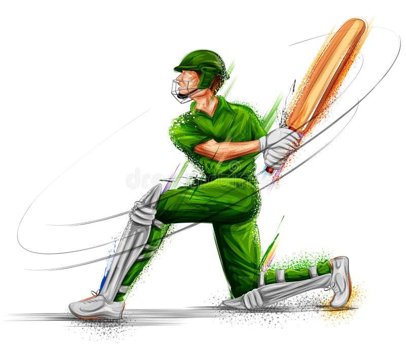 Batedor que joga esportes do campeonato do grilo ilustração do vetor