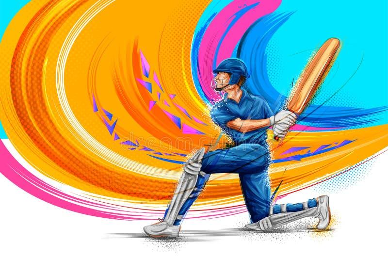 Batedor que joga esportes do campeonato do grilo ilustração stock