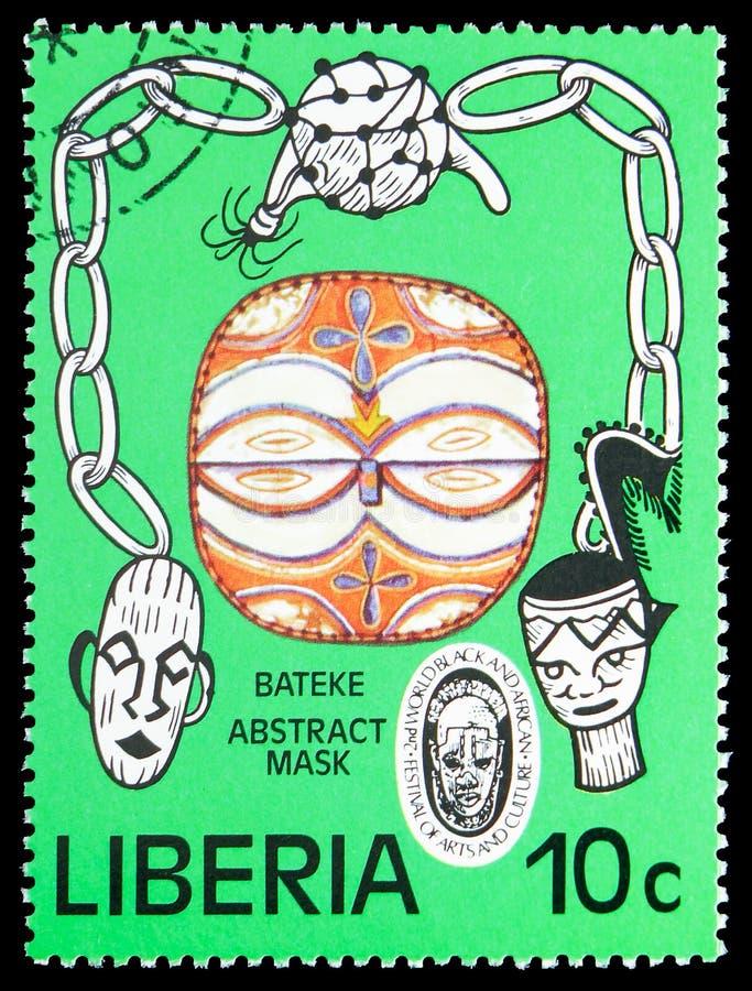 Bateke Abstract masker, het 2de Wereld Zwarte en Afrikaanse Festival van Kunsten en Cultuur serie, circa 1977 stock foto