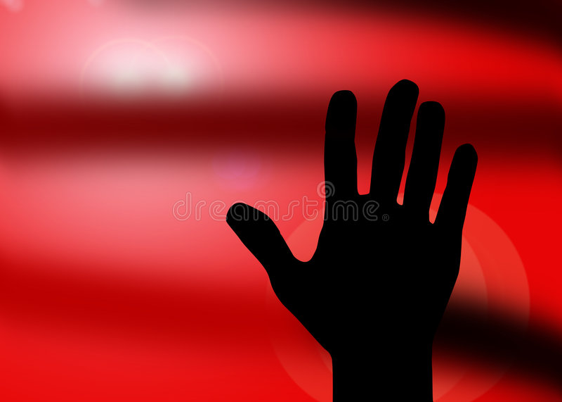 Batente da silhueta da mão ilustração royalty free