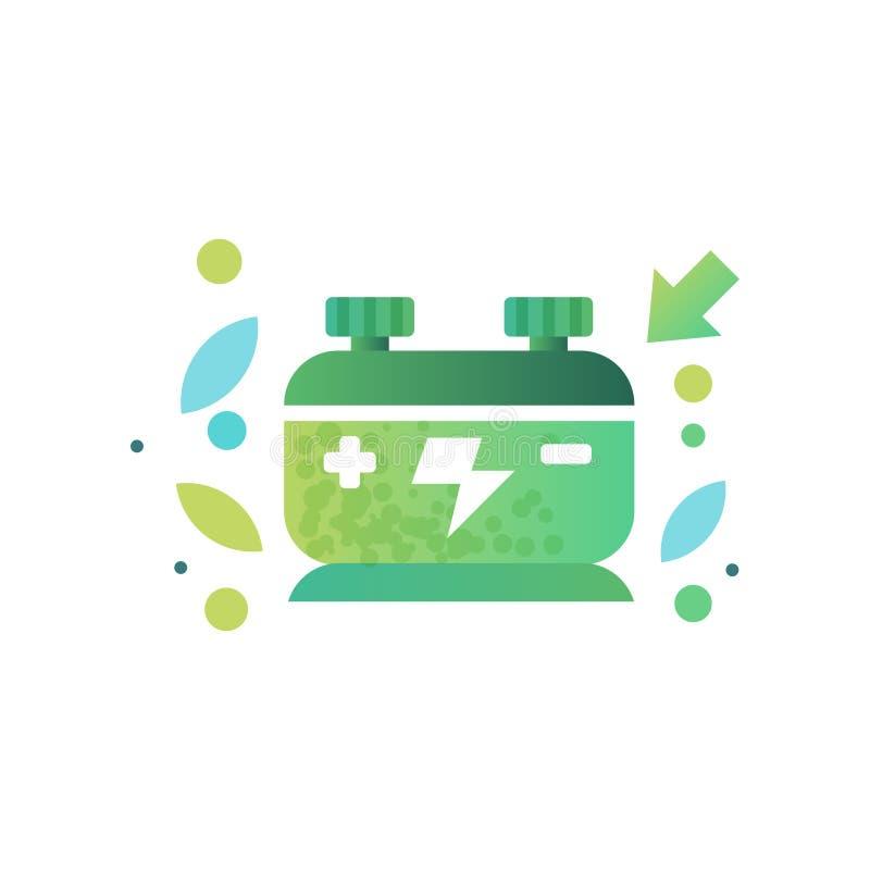 Batería amistosa de Eco, energía renovable, ejemplo del vector del concepto de la ecología en un fondo blanco stock de ilustración