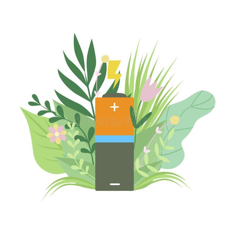 Batería amistosa de Eco, energía renovable, protección del medio ambiente, ejemplo del vector del concepto de la ecología ilustración del vector
