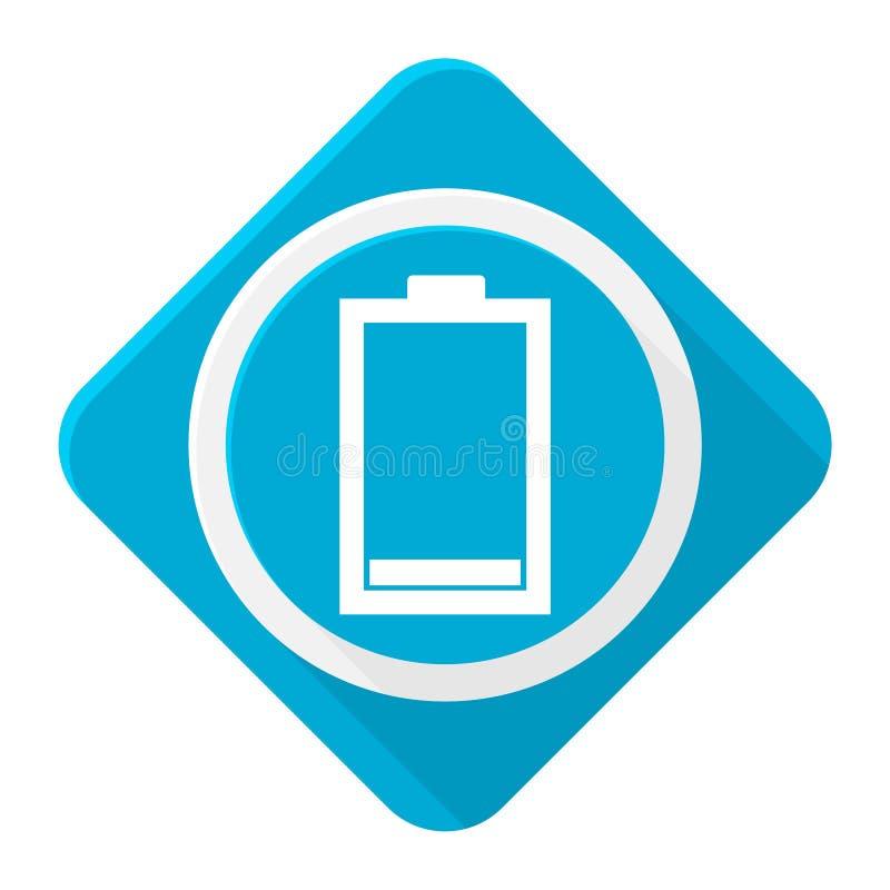 Batería baja del icono azul con la sombra larga ilustración del vector