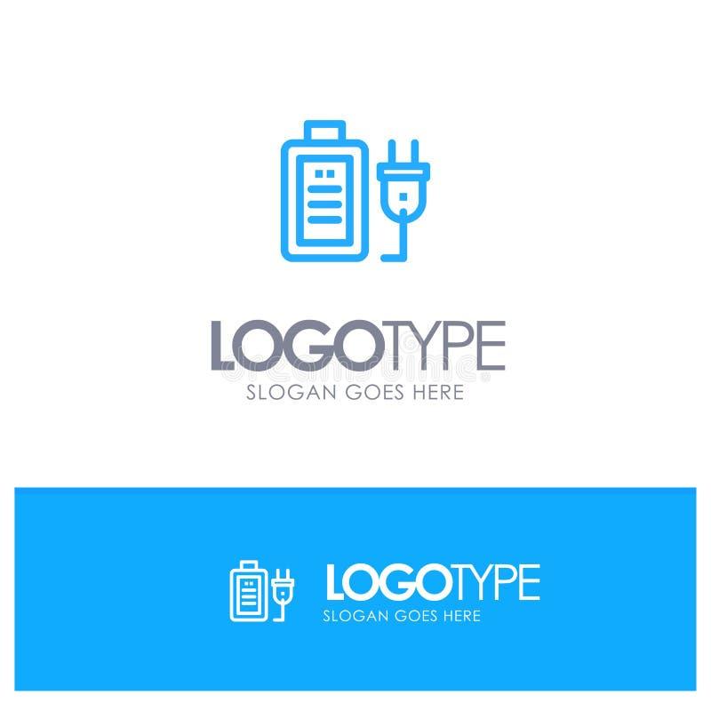 Batería, carga, enchufe, educación Logo Line Style azul stock de ilustración
