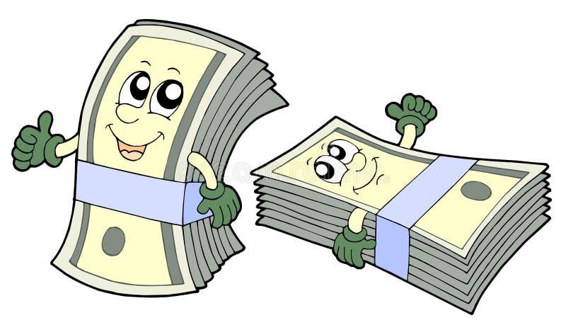 Batería de billetes de banco lindos stock de ilustración
