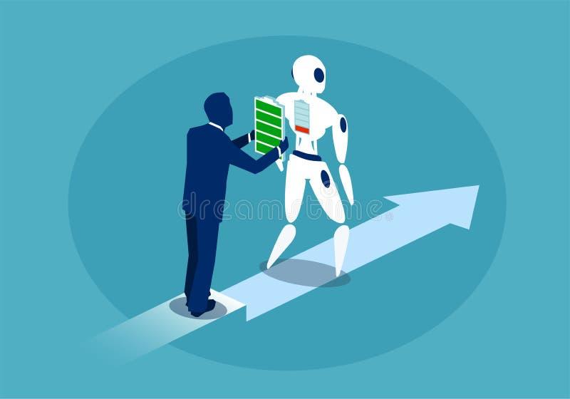 Batería de carga del robot del hombre de negocios ilustración del vector
