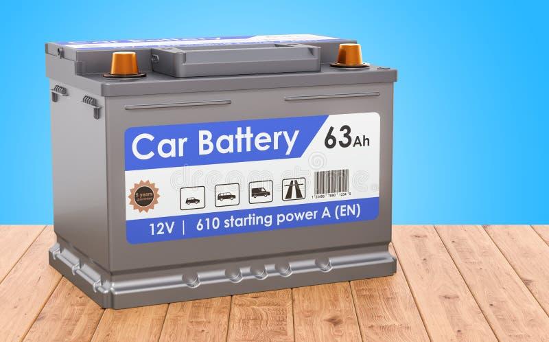 Batería de coche en el escritorio de madera representación 3d libre illustration