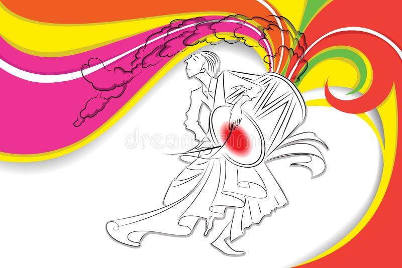 Batería en Durga Puja ilustración del vector