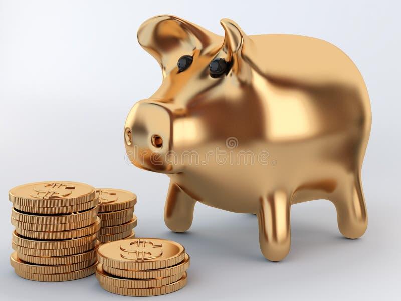 Batería guarra de oro con las monedas libre illustration