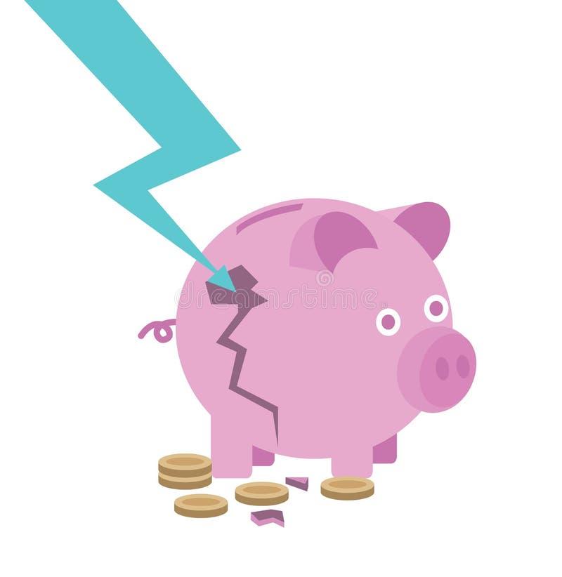 Batería guarra quebrada destruya por abajo la flecha riesgo de concepto de la inversión libre illustration