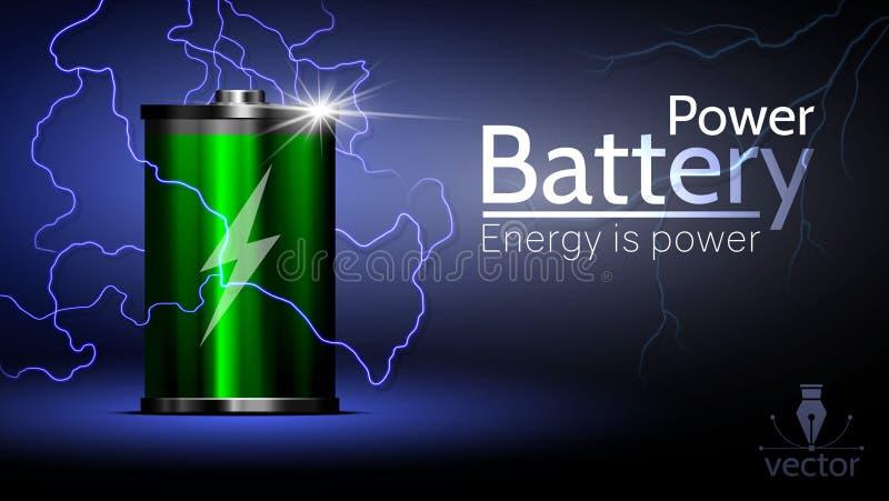 Batería hermosa de la energía en un fondo hermoso libre illustration