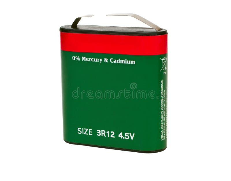 Batería plana de 4 5 voltios imagen de archivo libre de regalías