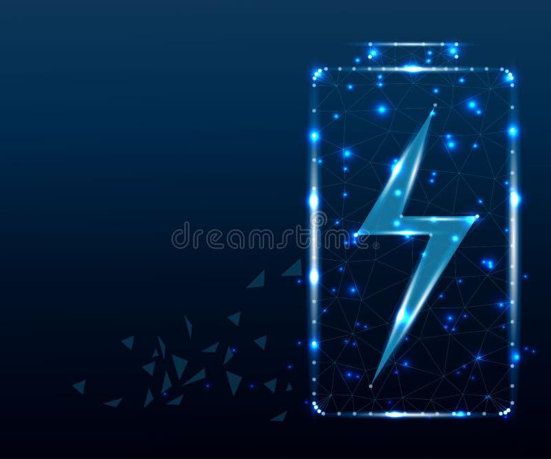 Batería, polígono, estrellas azules 1 ilustración del vector