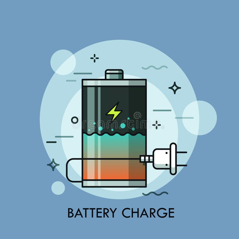 Batería recargable con el interior y el enchufe del líquido Concepto de control del nivel de la carga, de cargador o de cargador, ilustración del vector