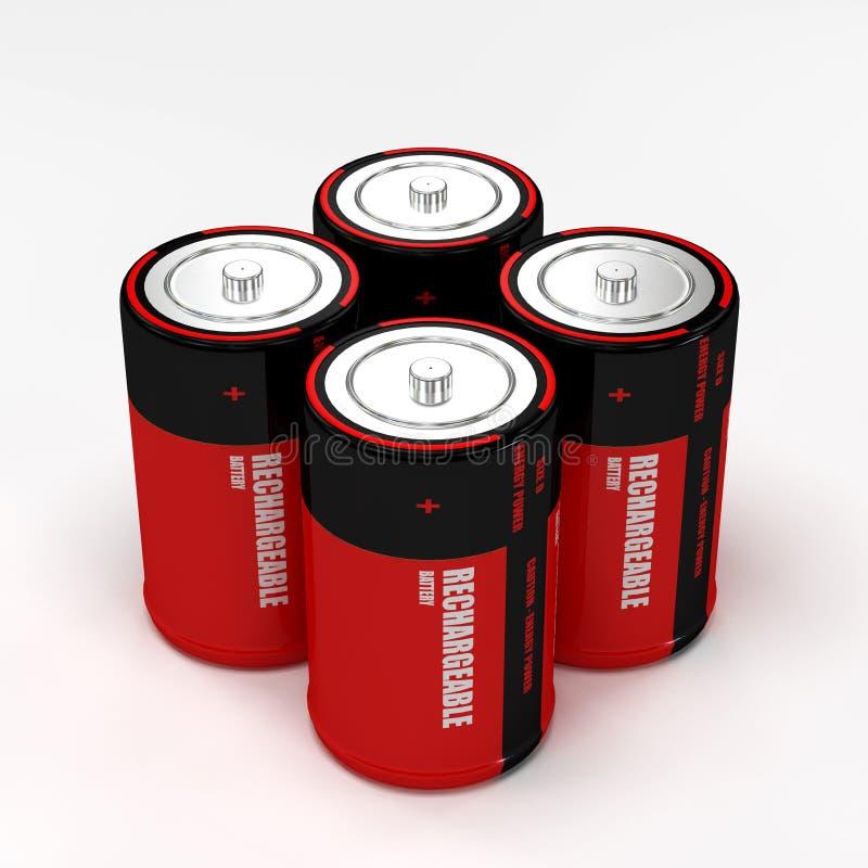 Batería recargable cuatro imagen de archivo libre de regalías
