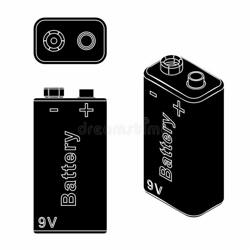 Batería tradicional 9V Terraplén negro libre illustration