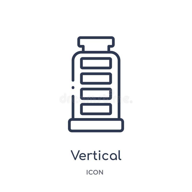 batería vertical con el icono de tres barras de la colección del esquema de la tecnología Línea fina batería vertical con el icon libre illustration