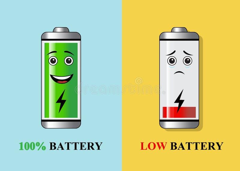 Baterías con diversa carga stock de ilustración