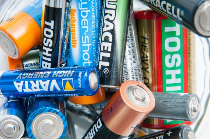 Baterías usadas imagen de archivo libre de regalías