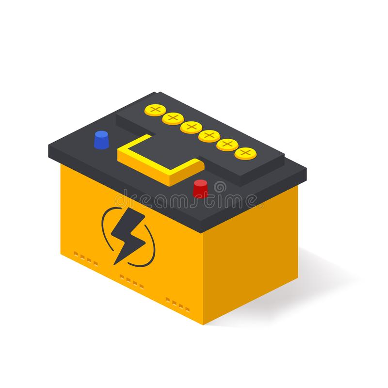 Bater?a de coche aislada en el fondo blanco Poder de la fuente eléctrica de las piezas de automóvil del coche del acumulador de b stock de ilustración