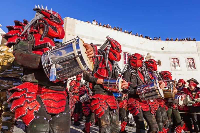 Bateria在巴西Carnaval游行的音乐部分 免版税库存照片