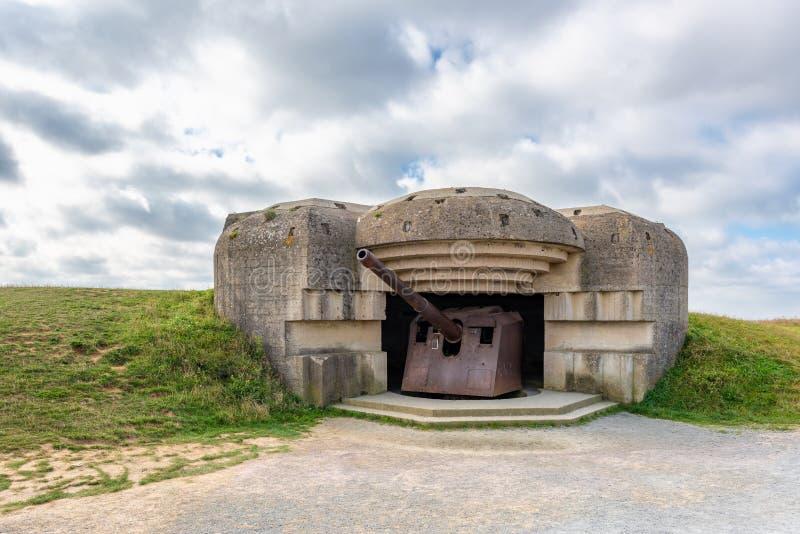 Bateria alemão da defesa da guerra mundial 2 no sur Mer Normandy França de Longues foto de stock