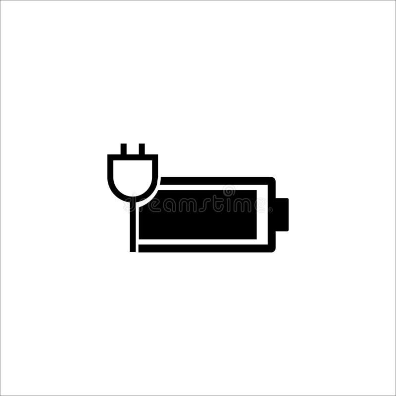 A bateria carregou completamente o ícone liso do vetor ilustração stock