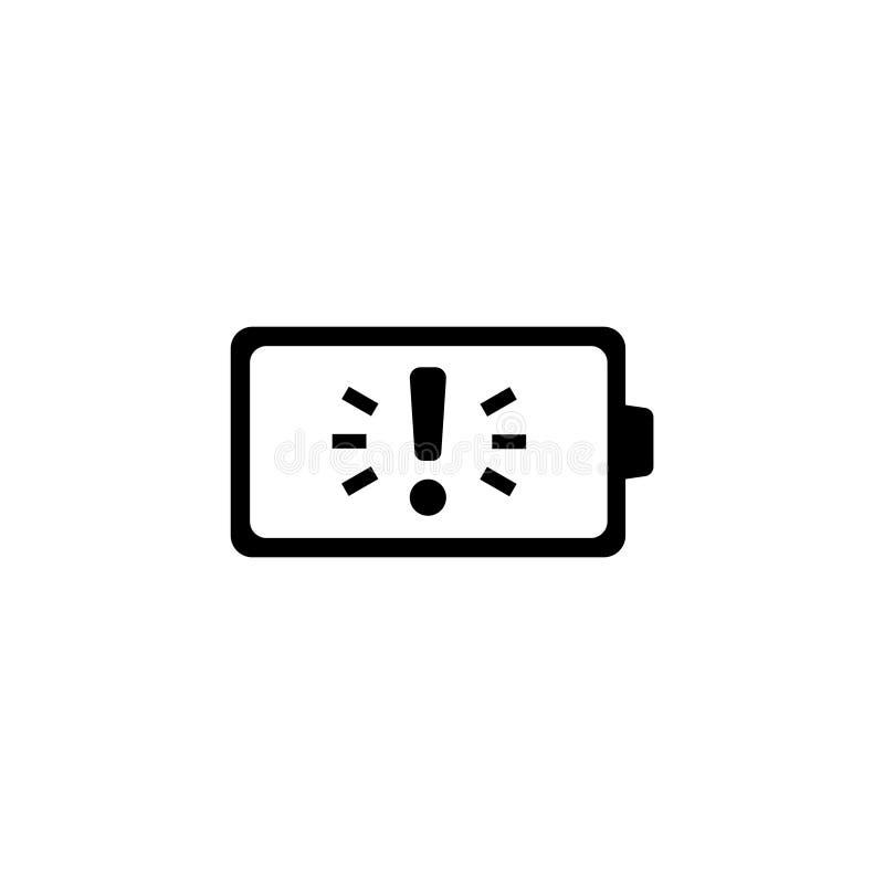 Bateria com ícone liso do vetor da exclamação ilustração do vetor
