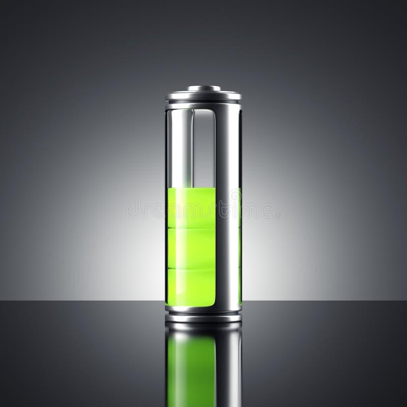 Bateria com indicador verde rendição 3d ilustração do vetor