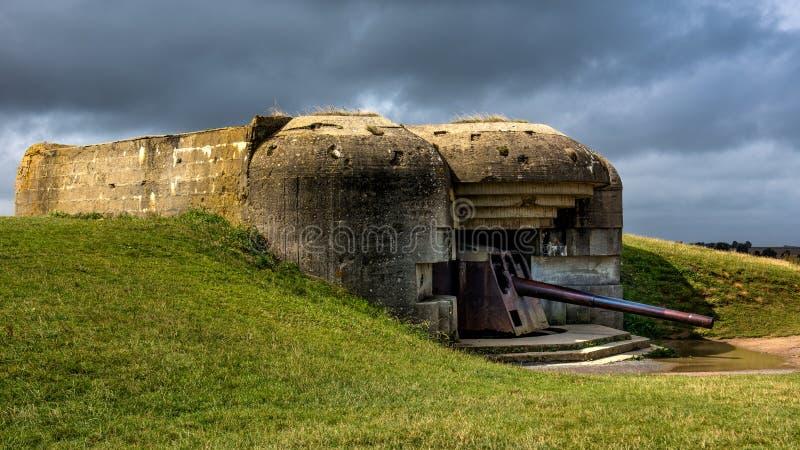 Bateria de arma alemão de Longues-sur-MER foto de stock