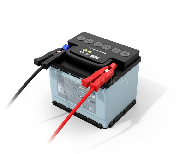 Bateria de carro com o cabo do impulsionador da ligação em ponte isolado no fundo branco ilustração do vetor