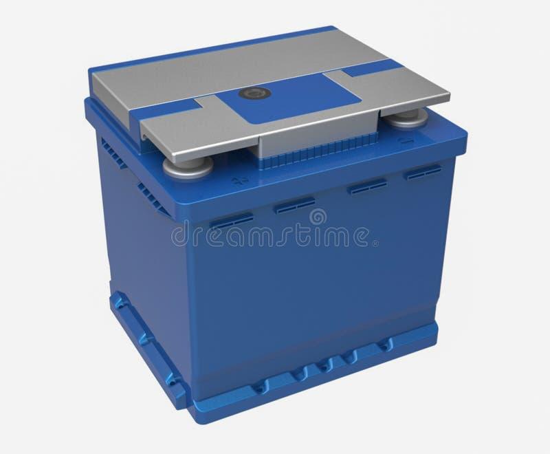 bateria de carro 3D azul com terminais cinzentos no branco ilustração do vetor