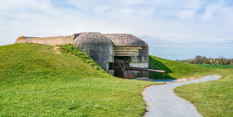 Bateria de Mer do sur de Longues, Normandy, França foto de stock