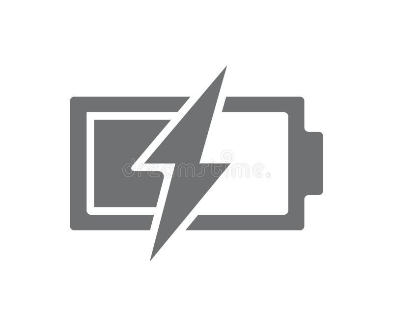 Bateria do poder do vetor com ícone do parafuso de relâmpago Símbolo do acumulador e ilustração carregados metade do sinal no fun ilustração do vetor