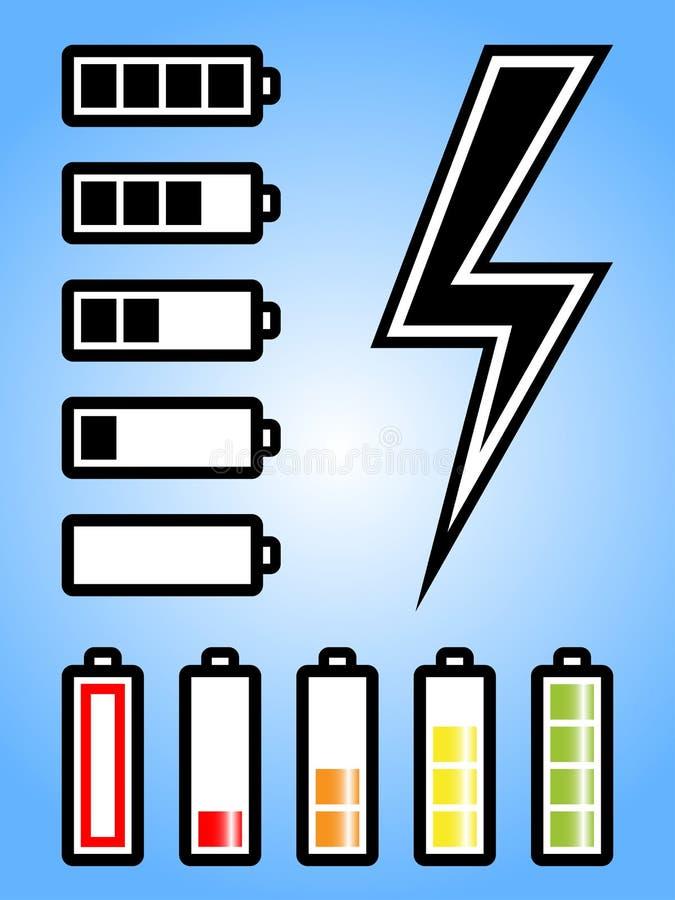 Bateria e ícone da potência da eletricidade ilustração do vetor