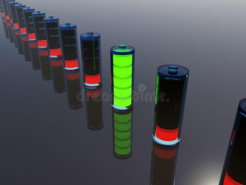 Bateria inteiramente cobrada em uma fileira ilustração stock
