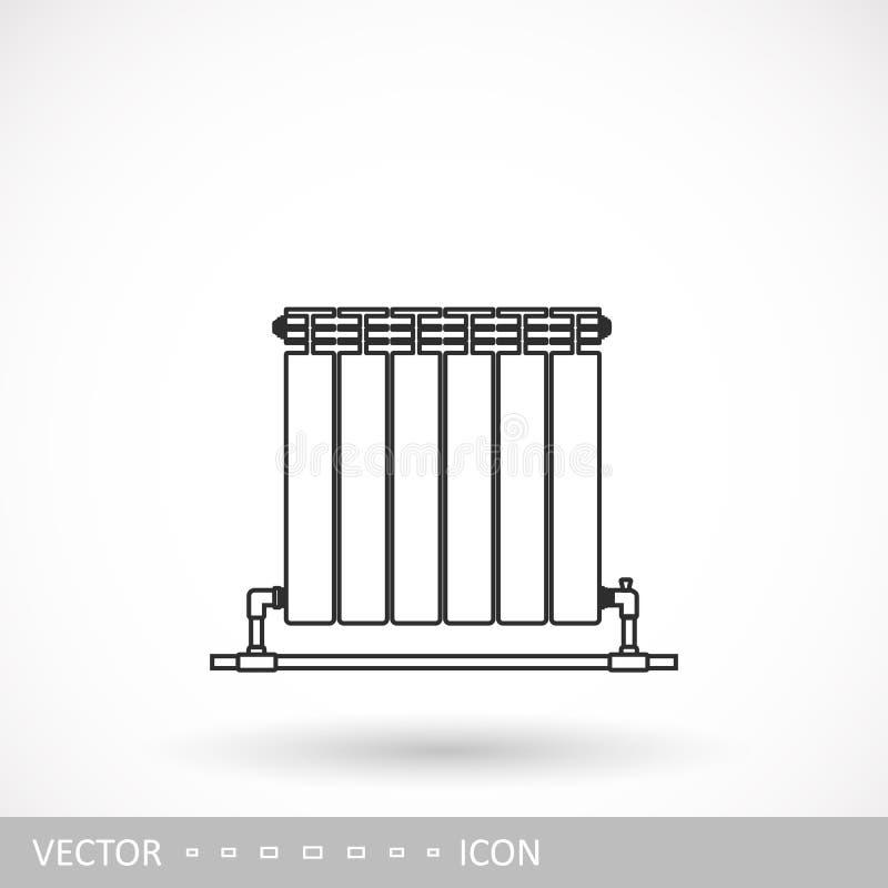 Bateria para o ícone de aquecimento Um ícone do radiador do projeto linear ilustração royalty free