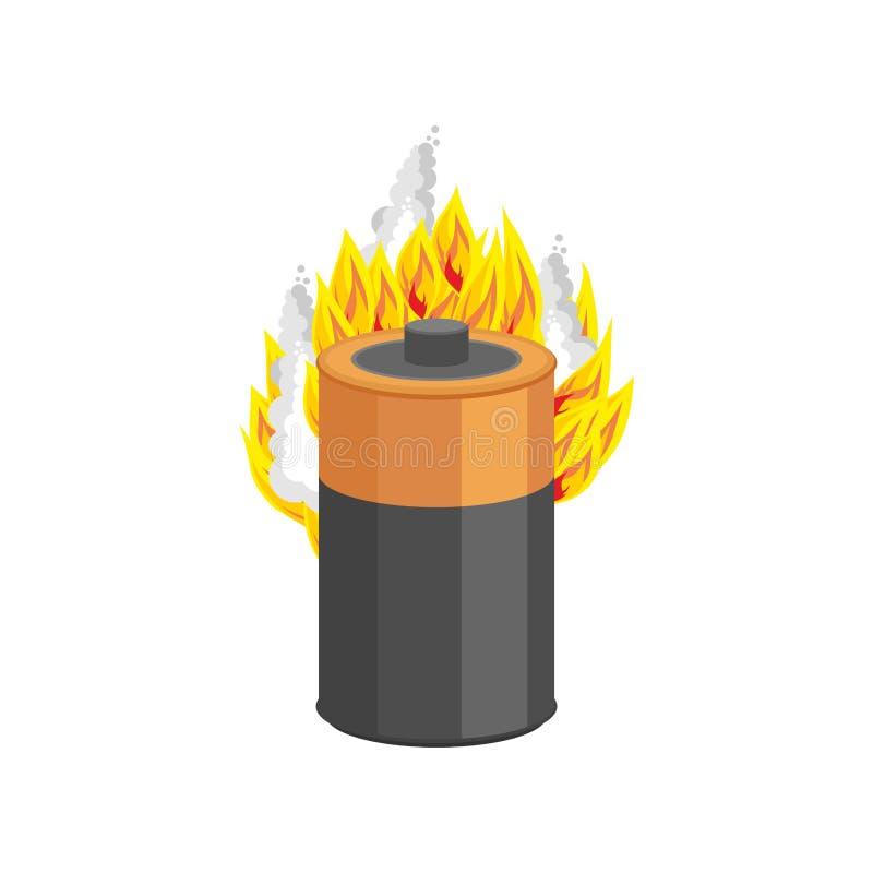 Bateria que queima-se isolada estilo dos desenhos animados do fogo do acumulador vetor apavorado ilustração royalty free