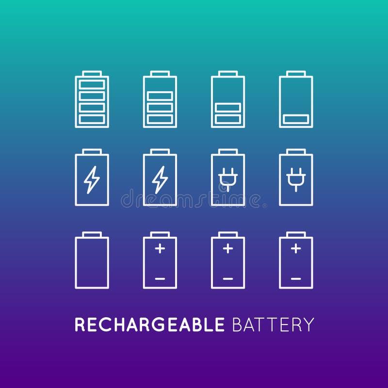 Bateria que recarrega, modo de poupança de energia do banco do poder, economia elétrica, objeto isolado ilustração do vetor