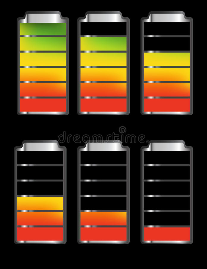 Bateria Równego wskaźnika symbole ilustracja wektor