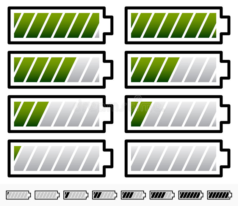 Bateria Równego wskaźnika symbole/Bateryjni symbole z Nachylającym b ilustracja wektor