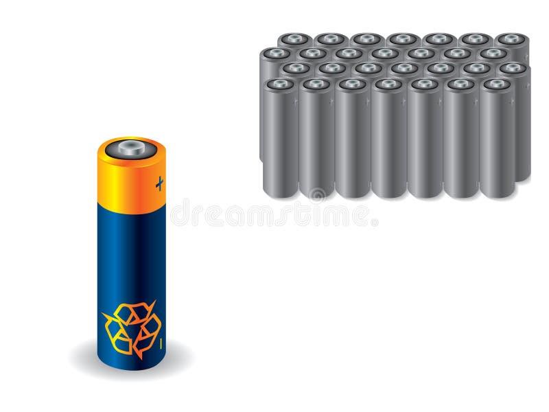 Bateria Recyclable contra baterias velhas ilustração royalty free