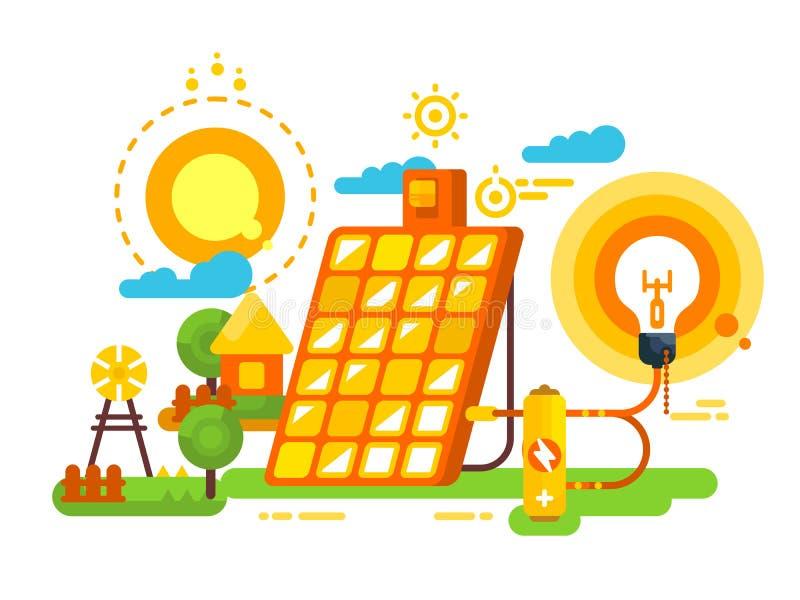 Bateria solar para o projeto da iluminação e da energia ilustração stock